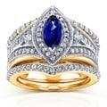 Annello 14k Two Tone Gold Marquise Blue Sapphire and 4/5ct TDW Diamond Art Deco 3-Piece Chevron Bridal Set (H-I, I1-I2)