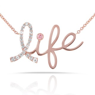 Annello 14k Rose Gold Pink Sapphire and 1/8ct TDW Diamond Breast Cancer Awareness 'Life' Necklace (G-H, I1-I2)