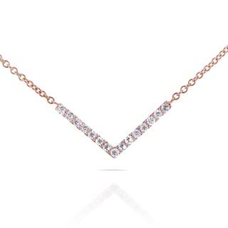 Annello 14k Rose Gold 1/10ct TDW Diamond Chevron Breast Cancer Awareness Necklace (G-H, I1-I2)