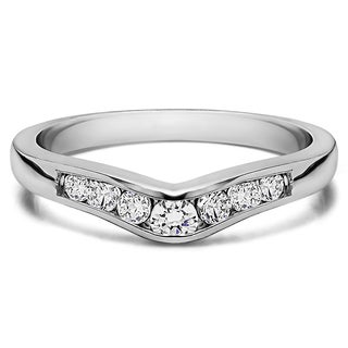 Sterling Silver Graduated d Classic Contour Wedding Ring mounted with Cubic Zirconia (0.25 Cts. twt)