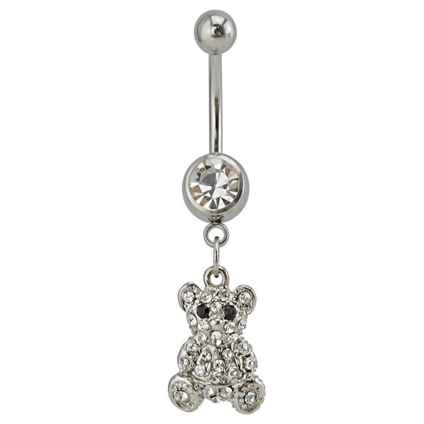 Supreme Jewelry Austrian Crystal Teddy Bear Belly Ring