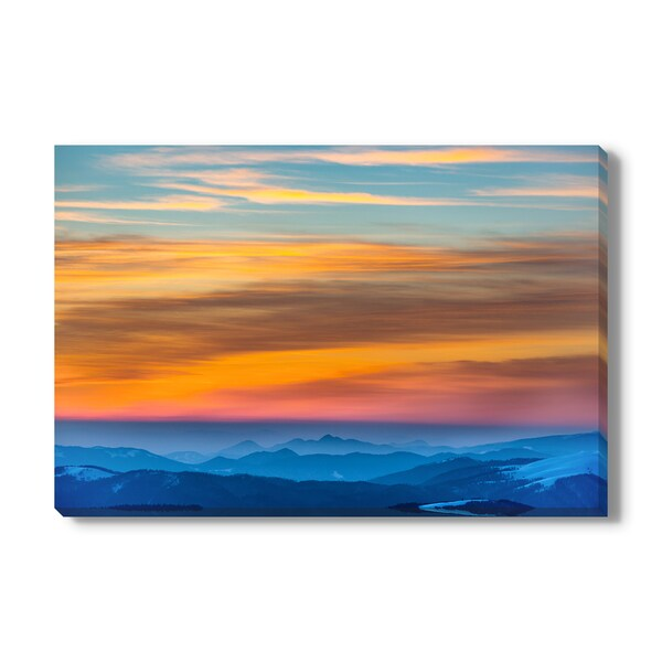 Sunset in winter mountains Print on Canvas Gallery Wrap