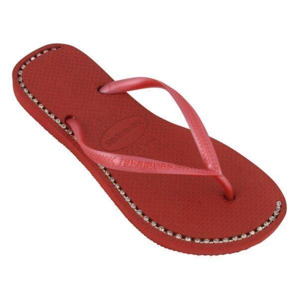 Havaianas Women's Red Rubber Rhinesone Flip Flop Sandals