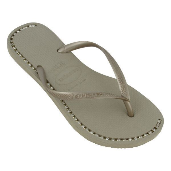 Havaianas Women's Gold Rubber Rhinesone Flip Flop Sandals