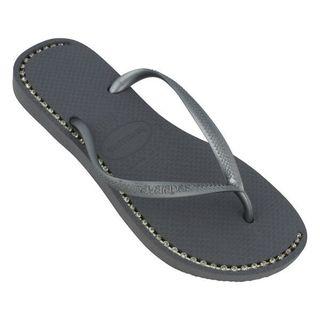 Havaianas Women's Grey Rubber Rhinestone Flip Flop Sandals