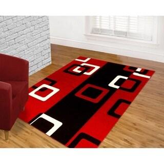 Contemporary Geometric Red Area Rug (8' x 11')