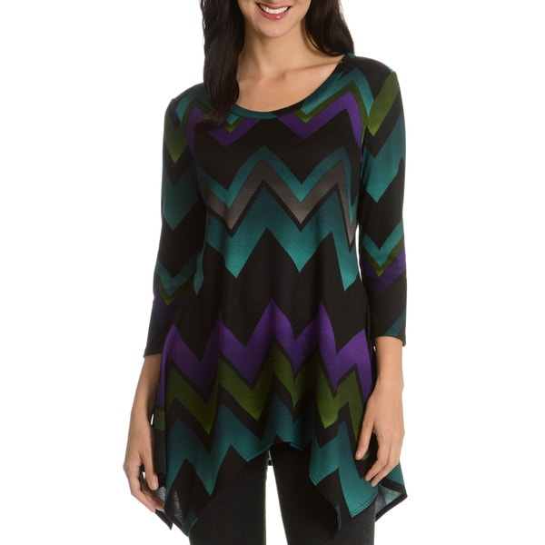 Sunny Leigh Multicolored Chevron Printed Tunic