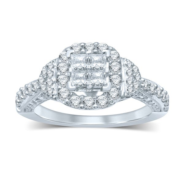 14k White Gold 1ct TDW Invisible-set Diamond Fashion Ring (I-J, I1-I2)