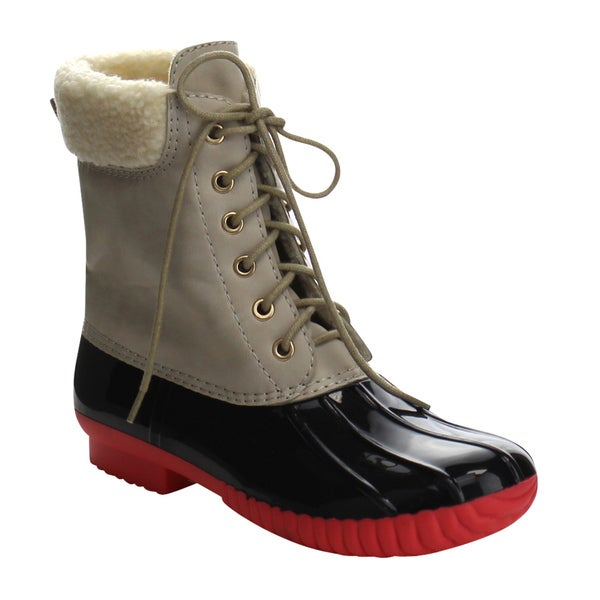 Da Viccino DA06 Women's Lace Up Faux Fur Shearling Combat Calf Rain Duck Boots