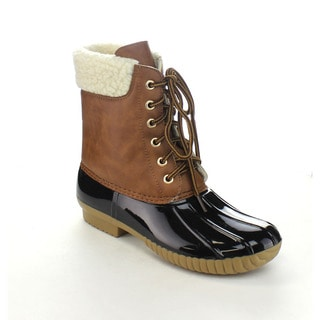 AXNY DYLAN-3 Women's Two-tone Lace Up Combat Style Ankle Rain Duck Boots