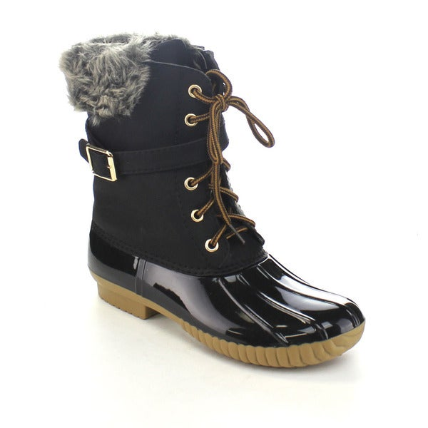AXNY DYLAN-7 Women's Two-tone Buckle Strap Combat Ankle Rain Duck Boots