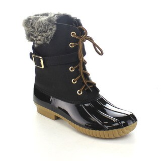 AXNY DYLAN-7 Women's Two-tone Buckle Strap Ankle Rain Duck Boots