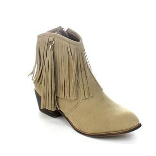 ADRIANA LEONARA-39 Women's Side Zipper Low Heel Fringe Ankle Booties