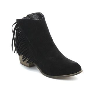 ADRIANA LEONARA Women's Low Heel Fringe Stacked Heels Ankle Booties