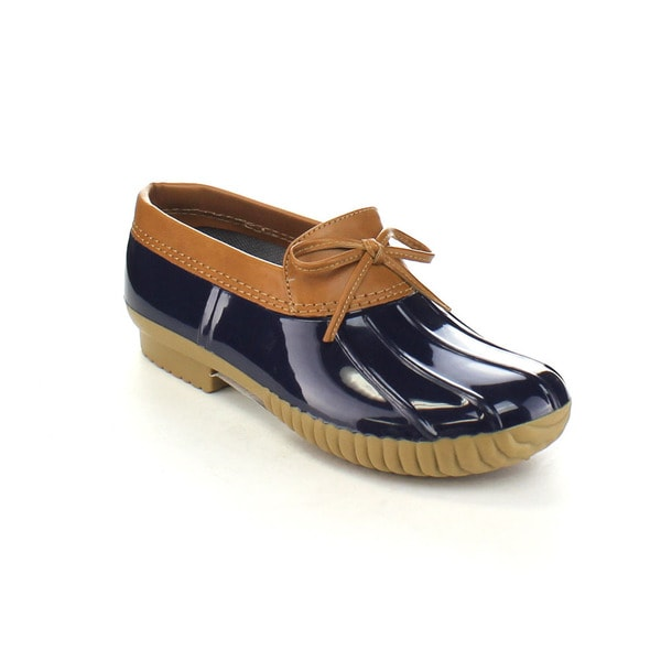 AXNY DYLAN-10 Women's Two-tone Bow Accents Slip-on Rain Loafer Flat Duck Shoes