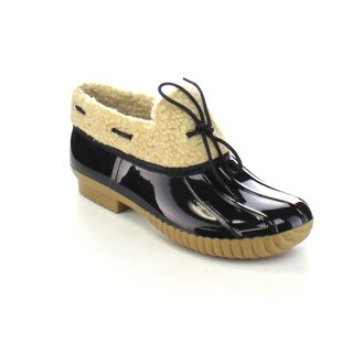 AXNY DYLAN-12 Women's Lace Up Two-tone Bow Slip-on Rain Loafer Flat Duck Shoes