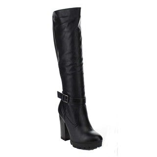 Bamboo GABY-09 Women's Buckle Strap Deco Lug Sole Chunky Heel Knee High Boots