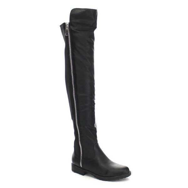 BAMBOO MONTEREY-05 Women's Stretch Back Side Zipper Low Heel Over The Knee Boots