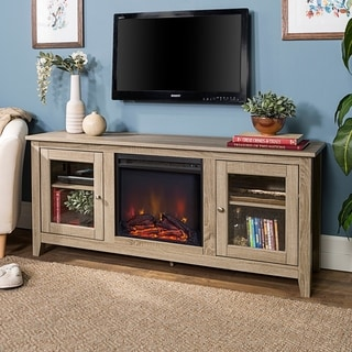 58-inch Driftwood 2-Door Fireplace TV Stand Console
