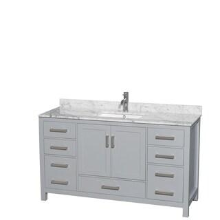 Wyndham Collection Sheffield 60-inch Gray Single Vanity, Undermount Square Sink
