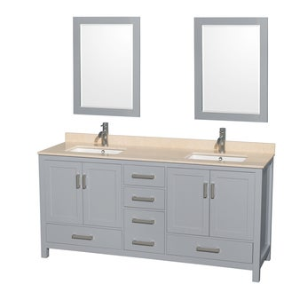 Wyndham Collection Sheffield 72-inch Gray Double Vanity, Undermount Square Sinks, 24-inch Mirrors