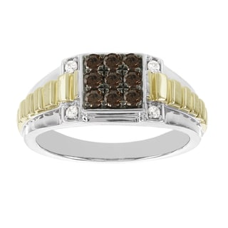 H Star 10k White and Yellow Gold Men's 1/2ct TDW Brown and White Diamond Ring (I-J, I2-I3)
