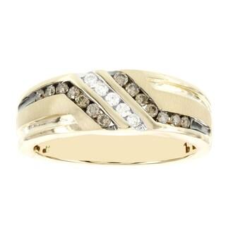 H Star 10k Yellow Gold Men's 3/8ct Brown and White Diamond Ring (I-J, I2-I3)
