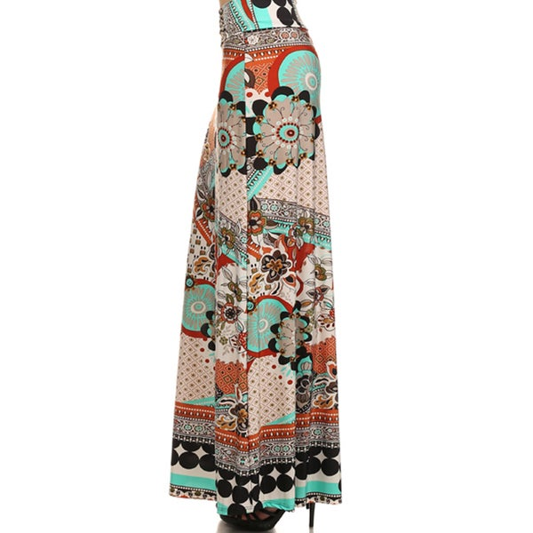 Women's Plus Printed Paisley Maxi Skirt