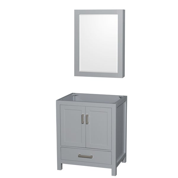 Wyndham Collection Sheffield 30-inch Gray Single Vanity, Medicine Cabinet