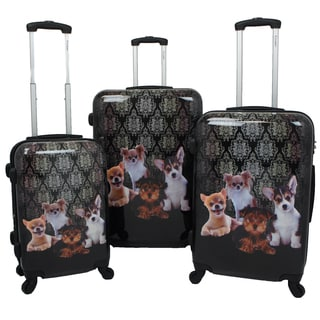 Chariot Doggies 3-piece Hardside Lightweight Upright Spinner Luggage Set