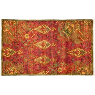 Suzani Hand Knotted Area Rug - 3x5 Green