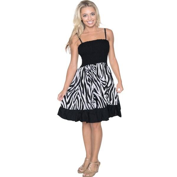 Women's Black/ White Animal Skin Print Casual Tube Dress