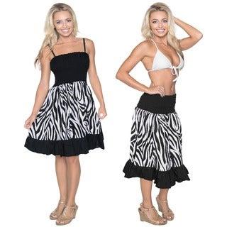 La Leela Women's Black/ White Animal Print Casual Tube Dress/ Sundress/ Skirt