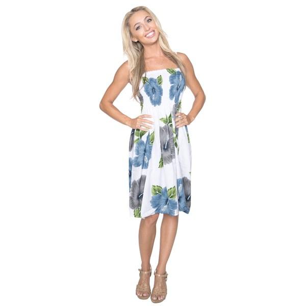 Women's Likre Grey Hibiscus Flower Printed Short Tube Dress