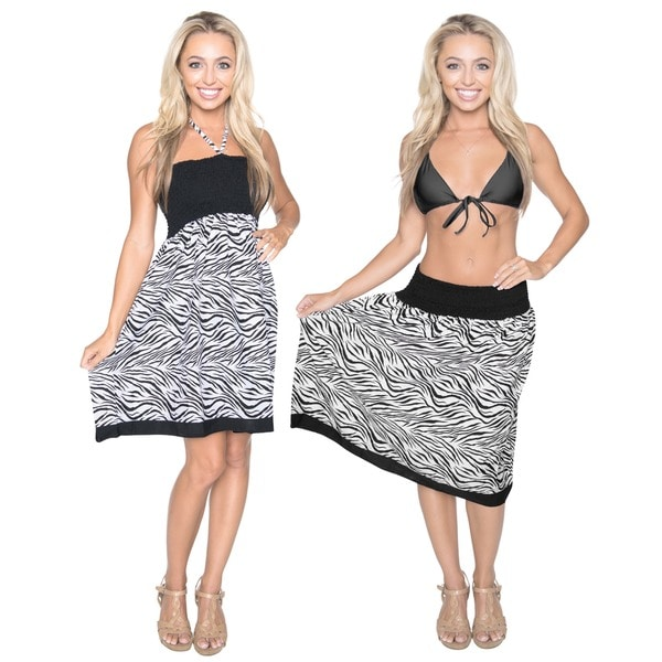 La Leela One Size Fits Most Likre Animal Skin Printed Black Short Casual Tube Dress/ Skirt