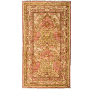 Art Deco Hand Knotted Area Rug - 3x5 Pink
