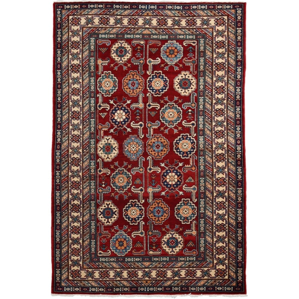 Shirvan Hand Knotted Area Rug - 4x6 Red