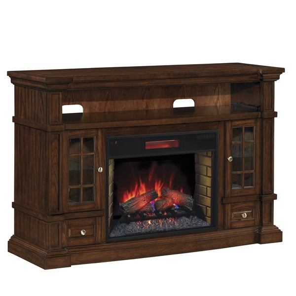 "ClassicFlame 74938-II Belmont TV Stand for TVs up to 65"" with 28"" Infrared Quartz Fireplace, Caramel Oak"
