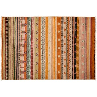 Tribal Hand Knotted Area Rug - 4x6 Multi