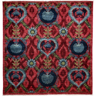Suzani Hand Knotted Area Rug - 4x6 Pink