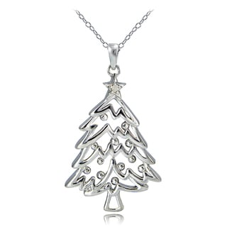 DB Designs Sterling Silver Diamond Accent Christmas Tree Necklace