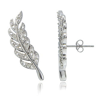 DB Designs Sterling Silver 1/10ct TDW Diamond Leaf Crawler Earrings