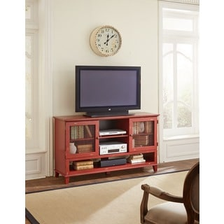 Sallis 60-inch Chinese Lunar Red Finish Wooden Deluxe TV Stand