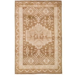 Oushak Hand Knotted Area Rug - 4x6 Beige, Brown