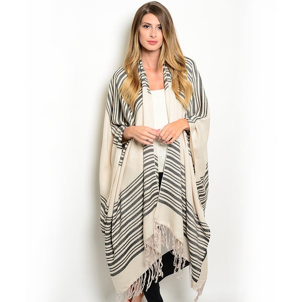 Shop the Trends Women's Knit Longline Wrap Style Poncho