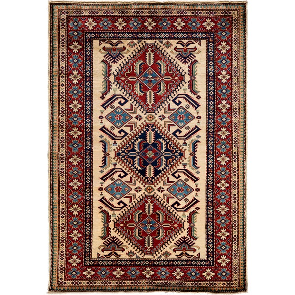 South West Hand Knotted Area Rug - 4x6 Ivory