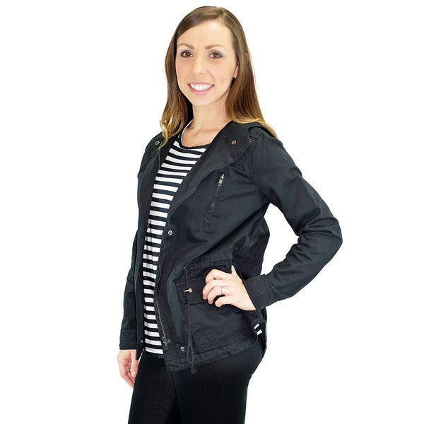 Women's Marin County Black Hooded Utility Jacket
