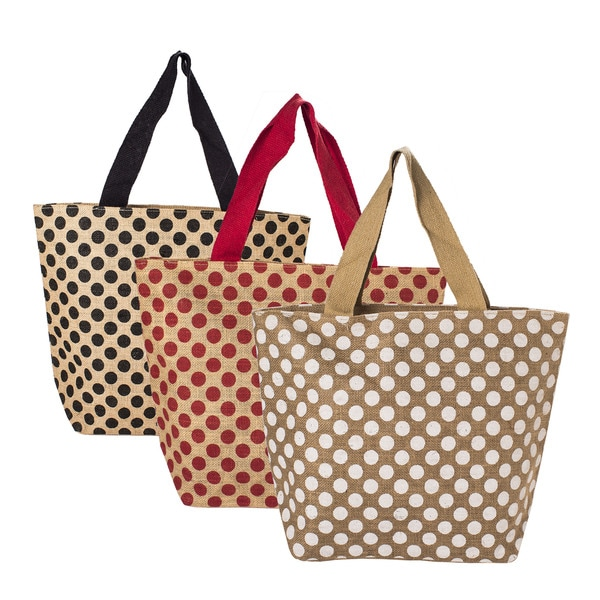 Polka Dot Natural Jute Tote Bags (Set of 3)