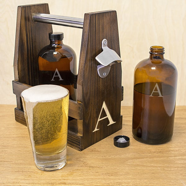 Personalized Rustic Craft Beer Carrier with Two 16 oz. Bullet Growlettes