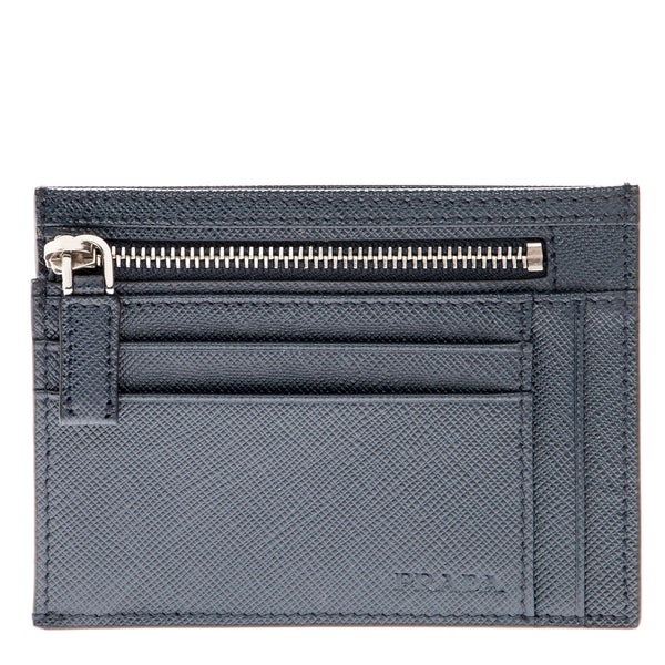 Prada Navy Saffiano Leather Credit Card Holder